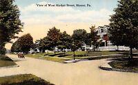 Mercer Pennsylvania~Homes on West Market Street~Vintage Car~1914 Postcard