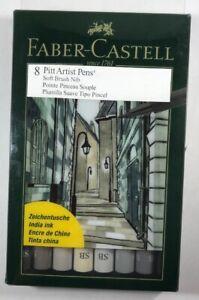 FABER-CASTELL USA 167808 PITT ARTIST PEN SOFT BRUSH GREY SHADES 8PC WALLET