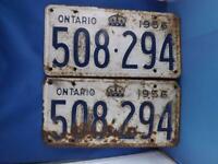 ONTARIO LICENSE PLATE 1956 LOT 508 294 SET PAIR CANADA MAN CAVE SIGN CAR SHOP