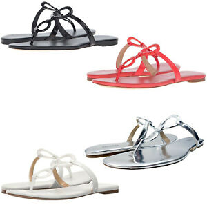 Michael Kors Womens Claudia Slip On Double Ring T-Strap Flat Thong Sandals