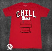 New Peanuts Charlie Brown Snoopy Chill Red Men's T-Shirt
