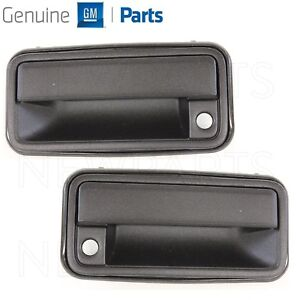Pair Set of 2 Black Front Outer Door Handles for GMC Chevy Cadillac Genuine GM
