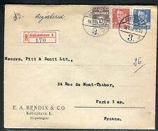 Danemark - Enveloppe commerciale en recommandé de Copenhague pour Paris en 1950
