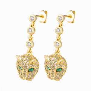 Leopard Head Drop Earrings Paved Cubic Zirconia Stone Panther Luxury Jewelry