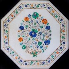 """18"""" Handcrafted Marble Side Corner Table Top Floral Inlay Art Work"""