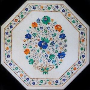 "18"" Handcrafted Marble Side Corner Table Top Floral Inlay Art Work"