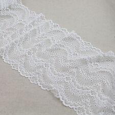 """1 Yard Vintage Pretty Wave Stretch Delicate Scallop Edge Lace Trim White 8"""" Wide"""