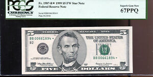 1999 $5 Federal Reserve **STAR** Note New York BB00661894* PCGS 67PPQ
