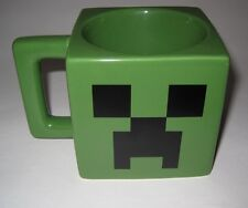 2013 MINECRAFT Video Game Coffee Mug Creeper Face Dark Green Square Ceramic