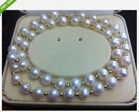 20 inch HOT HUGE AAA+ 9-10MM AKOYA WHITE PEARL NECKLACE  14K GOLD CLASP