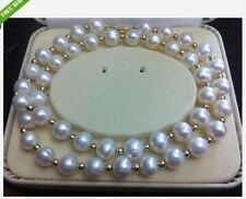 HOT HUGE AAA+ 9-10MM AKOYA WHITE PEARL NECKLACE 20 INCH 14K GOLD CLASP