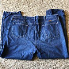 Men's Rustler Denim Blue Jeans, 46x29 Regular Fit 5 Pocket Straight Leg