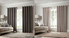 Geometric Eyelet Curtains Ring Top Modern Ready Made Fully Lined New
