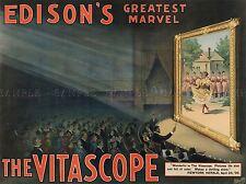 THEATRE VITASCOPE EDISON NEW YORK USA VINTAGE RETRO ADVERTISING POSTER 2106PYLV