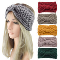 Winter Ear Warmer Headband Soft Elastic Knitted Bow Headwrap Handmade Hairband F