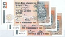 "HONG KONG, 1995X2 1997X1 ""CHARTERED BANK"" $20 X 3 ALL SAME #173548 UNCIRCULATED"