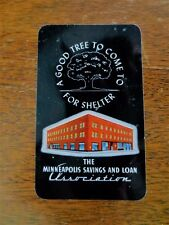 1954 Minneapolis Savings Loan Assoc. Bank Plastic Pocket Calendar Ad St. Paul MN