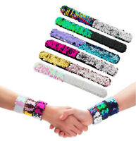 Womens Sequin Circle Bracelet Glitter Snap Wristband Band Jewelry Charm Gifts