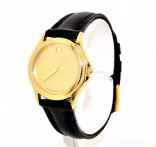 MOVADO YELLOW TONE STAINLESS STEEL BLACK FACE LADY'S WATCH
