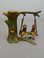 "Vintage frogs on a tree Swing, 5"" Tall Solid Brass India"