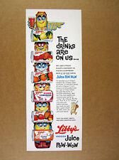 1960 Libby's Frozen Juices 'Juice Pow-Wow' colorful totem pole art print Ad