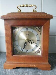 Wooden Cased Mantle Clock - MINSTER Quartz, working