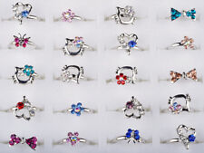 10pcs/Lot Wholesale Kids Childrens Mixed Color Crystal Fashion Jewellery Rings