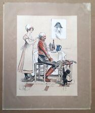 Lithographie Originale Louis Vallet Humour Militaire Officier Femme Napoléon