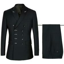 Double Breasted Suit Men Black Formal Fashion Wedding Suits Tuxedo 2 Pieces