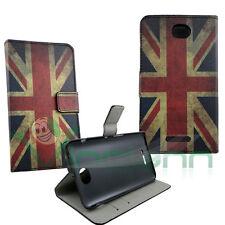 Custodia book Bandiera Vintage Inglese per Sony Xperia E4 flip cover STAND UK
