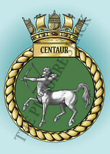 HMS CENTAUR CREST ON A METAL SIGN 5 x 7 INCHES FITS STANDARD PHOTO FRAME.