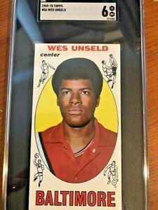 1969 Topps Basketball Card #56 Wes Unseld(HOF) Rookie Card SGC 6
