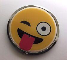 """SMILEY FACE 3D Domed Emblem Badge Car Sticker METAL Chrome Bezel ROUND 3 3/8"""""""