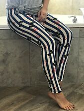 Buttery Soft Sailor Dog Nautical Leggings One Size S M L Navy Blue Stripe Dog OS
