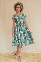 Palava Beatrice Dress Cap Sleeves Passionflower Teal