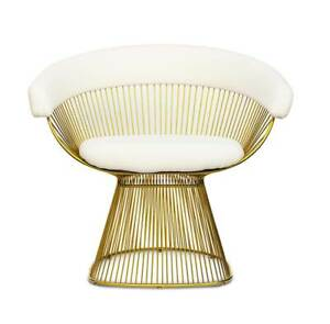 Luxury gold seat with genuine white leather inspired by Warren Platner. 20 kg
