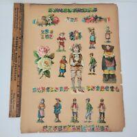 Antique Vintage Victorian Paper Cutouts On Scrapbook Paper