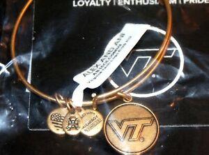 ALEX and ANI - VIRGINIA TECH - Gold Tone VT Charm Bangle Bracelet - Brand New