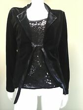 NOTATIONS Women's All-in-One Black Velvet Jacket W/ Sequin Tank~Size M