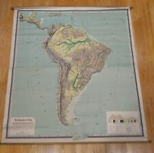 Antique South America roll down map vintage wall chart school German Nice!