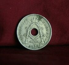 1922 Belgium 5 Centimes Copper Nickel World Coin Belgie five Cent Crown Monogram