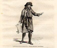 Stampa antica VENDITORE AMBULANTE di BIGLIETTI della LOTTERIA 1870 Old Print