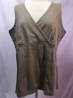 Monterey Bay Brown V neck Faux Wrap Empire Waist Sleeveless Knit Top Size XL