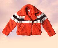 Topshop Petite Orange Black White Stripe Borg Retro Jacket Coat Size 8