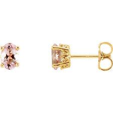 Pink Morganite Earrings In 14K Yellow Gold