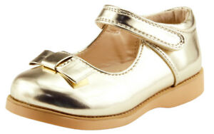 Girl's School Dress Classic Shoes Touch Close Mary Jane Gold or Silver Toddler