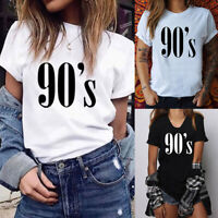 Summer Women's Simple Cotton Short Sleeve T-Shirt 90'S Letter Casual Joker Top