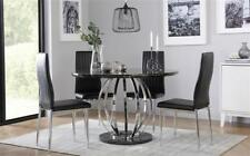 Savoy Round Black Marble and Chrome Dining Table - with 4 Leon Black Chairs