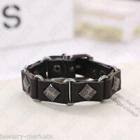 Punk Mens Women Black Leather Bracelet Wristband Bangle Surfer Wrap Cuff Jewelry