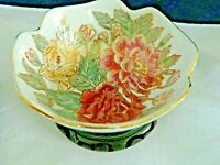 "BOWL, DECORATIVE ONLY ROSE FLORAL W/WOODEN STAND,APPROX. 6"" ROUND,4 1/2"" TALL"